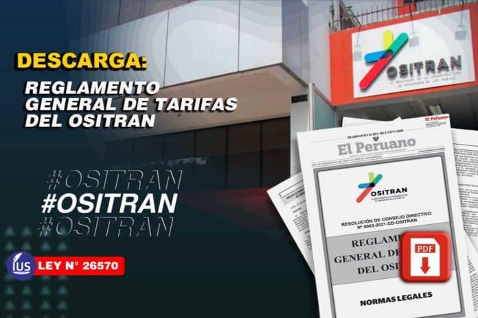 Reglamento general de tarifas del OSITRAN