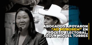 """Abogados apoyaron """"ad honorem"""" en proceso electoral, según Miguel Torres"""