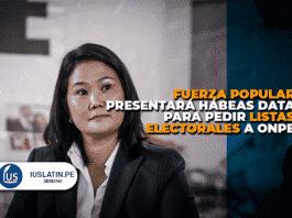 Fuerza Popular presentará hábeas data para pedir listas electorales a ONPE