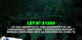 Ley que garantiza el funcionamiento de comunidades y rondas campesinas ante la COVID-19