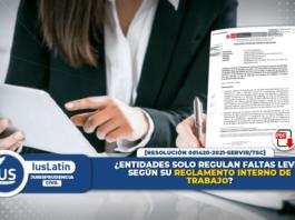 Entidades solo regulan faltas leves según su reglamento interno de trabajo
