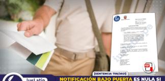 Notificación bajo puerta es nula si no cumple formalidades del art. 161