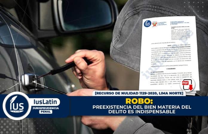 Robo: preexistencia del bien materia del delito es indispensable